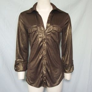 INC Brown Shimmer Top Tab Sleeves Slinky Fitted